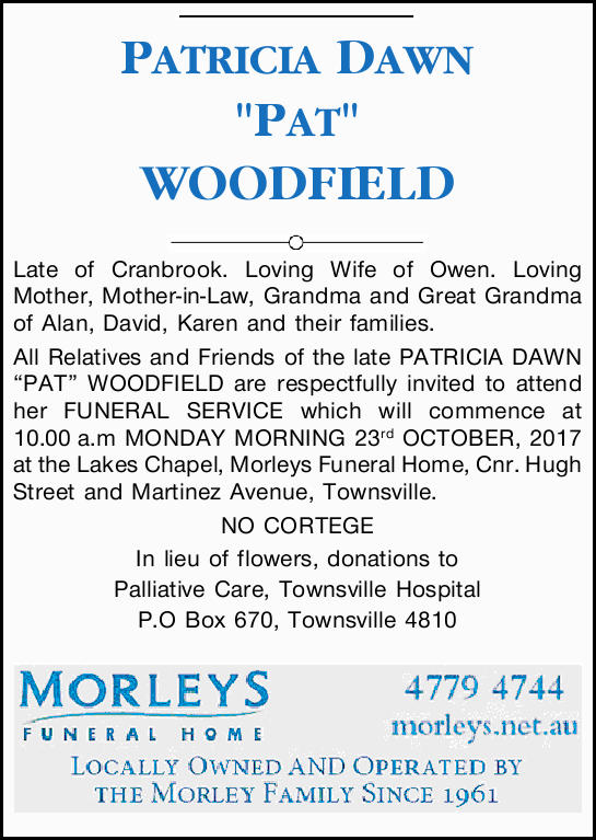 "PATRICIA DAWN ""PAT"" WOODFIELD