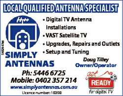 5492447ac LOCAL QUALIFIED ANTENNA SPECIALIST * Digital TV Antenna Installations * VAST Satellite...