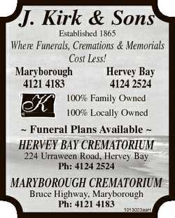 J. Kirk & Sons Established 1865 Where Funerals, Cremations & Memorials Cost Less! Marybor...