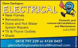 Glenn Darlington ELECTRICAL Domestic and commercial installations and Maintenance Lic# 67059 0418...
