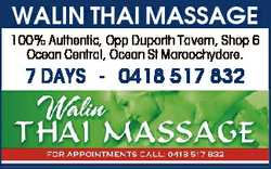 WALIN THAI MASSAGE 100% Authentic, Opp Duporth Tavern, Shop 6 Ocean Central, Ocean St Maroochydor...