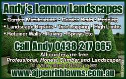 Andy's Lennox Landscapes * Garden Maintenance * Garden Beds * Hedging * Landscape Repairs * Tree...