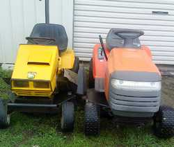 "RIDE ONS Husqvarna, Honda motor, 38"" cut; also Greenfield, 12hp, GC, $750ea. Can del 0428005..."