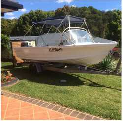 QUINTREX MK11, 4.4mtr. alum. O Runabout with tilt trailer, 40hp Johnson motor, 12 mths. rego, GC,...