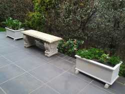 Cement seat and 2 planters