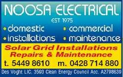 Solar Grid Installations Repairs & Maintenance t. 5449 8610 m. 0428 714 880 Des Voght LIC. 35...
