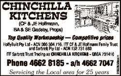 CHINCHILLA KITCHENS (CF & JE Hoffmann, BA & SE Gadsby, Props) Top Quality Workmanship --...