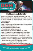 Draftsperson/Estimator 6693740aa Due to current growth DGH Engineering are seeking a Full Time Draftsperson/Estimator for our Emerald workshop. To be considered for this role candidates will be required to have previous experience in a similar position. Responsibilities * Ability to manage a task from conceptual design through to completion ...