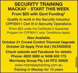 SECURITY TRAINING MACKAY - START THIS WEEK From $25 with Govt Funding* Qualify to work in the Sec...