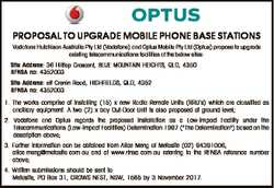 PROPOSAL TO UPGRADE MOBILE PHONE BASE STATIONS Vodafone Hutchison Australia Pty Ltd (Vodafone) and O...