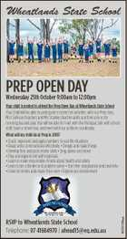 Wheatlands State School PREP OPEN DAY Wednesday 25th October 9:00am to 12:00pm RSVP to Wheatlands State School Telephone: 07 41684970 | ahead15@eq.edu.au 6701129aa Your child is invited to attend the Prep Open Day at Wheatlands State School Your child will be able to participate in some ...