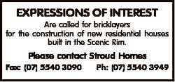 EXPRESSIONS OF INTEREST Are called for bricklayers for the construction of new residential houses bu...