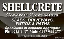 SHELLCRETE Concrete Contractors SLABS, DRIVEWAYS, PATIOS & PATHS Specialists in exposed aggre...