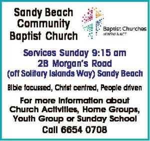 <p> Sandy Beach Community Baptist Church Services Sunday 9:15 am 2B Morgan's Road (off Solitary...