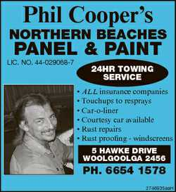 Phil Cooper's NORTHERN BEACHES PANEL & PAINT LIC. NO. 44-029068-7 24HR TOWING SERVICE * A...