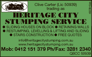 HERITAGE CITY STUMPING SERVICE