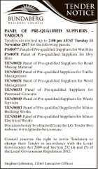 TENDER NOTICE PANEL OF PRE-QUALIFIED SUPPLIERS Heading Body copy bold underline back to normal VARIOUS Tenders Headingare 2 invited up to 2.00 pm AEST Tuesday 14 November forunderline the following Body copy2017 2 bold back panels. to normal PS/0077 Panel Heading 3 of Pre-qualified Suppliers for Wet Hire ...