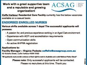 Work with a great supportive team and a reputable and growing organisation! Coffs Harbour Residential Care Facility currently has the below vacancies available on a casual basis: ENDORSED ENROLLED NURSES Various shifts available across 7 days! The successful applicants will possess: - A passion for, and previous experience working in an ...