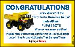 "CONGRATULATIONS Lucky Winner of the ""T Tiny Tonka Colouring Comp"" Jade Allison Please note..."