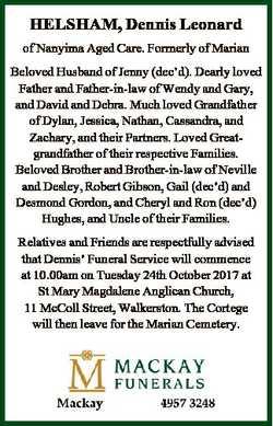 HELSHAM, Dennis Leonard of Nanyima Aged Care. Formerly of Marian Beloved Husband of Jenny (dec'd...