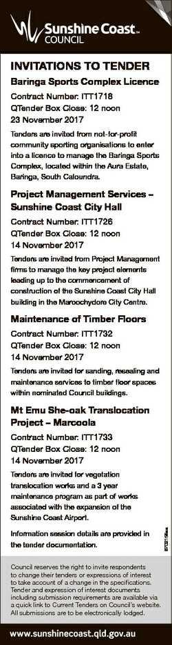 INVITATIONS TO TENDER Baringa Sports Complex Licence Contract Number: ITT1718 QTender Box Close: 12...