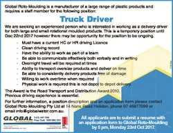 Global Roto-Moulding is a manufacturer of a large range of plastic products and requires a staff mem...