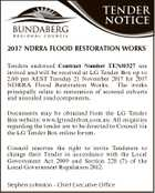 TENDER NOTICE Heading 2017 NDRRA FLOOD RESTORATION WORKS Body copy bold underline back to normal Heading 2 Tenders endorsed Contract Number TEN/0327 are Body copy boldbe underline to normal invited and2will receivedback at LG Tender Box up to 2.00 pm AEST Tuesday 21 November 2017 for 2017 Heading ...