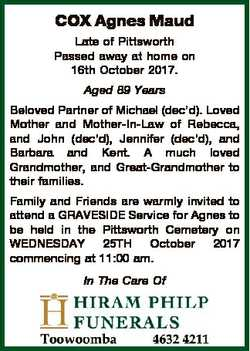 COX Agnes Maud Late of Pittsworth Passed away at home on 16th October 2017. Aged 89 Years Beloved Pa...