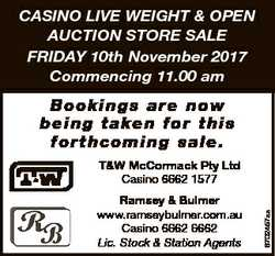 CASINO LIVE WEIGHT & OPEN AUCTION STORE SALE FRIDAY 10th November 2017 Commencing 11.00 am B o o...