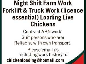 Night Shift Farm Work Forklift & Truck Work