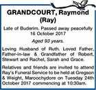 GRANDCOURT, Raymond (Ray)