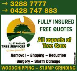 3288 7777 0428 747 883 FULLY INSURED FREE QUOTES Removal - Shaping - Reduction Surgery - Storm Da...