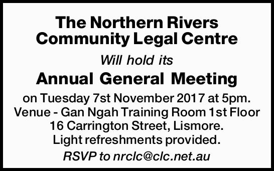 Will hold its Annual General Meeting on Tuesday 7st November 2017 at 5pm. Venue - Gan Ngah Traini...