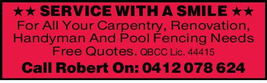 Carpentry.  Renovations.  All handyman work.  Pool Fencing Needs.  Free Q...