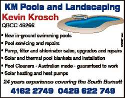 KM Pools and Landscaping Kevin Krosch QBCC 46266 5500512ac * New in-ground swimming pools * Pool...