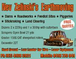 Dams Roadworks Feedlot Sites Piggeries Stickraking Land Clearing FREE Dozers: 2 x 225hp and 1 x 3...