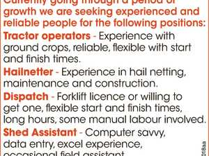 Hiring - Tractor Operators , Hailnetter and Dispatch