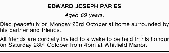 EDWARD JOSEPH PARIES
