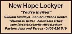 "New Hope Lockyer ""You're Invited"" 9.30am Sundays - Senior Citizens Centre 13 North..."
