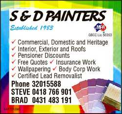 S & D PAINTERS Established 1983 QBCC Lic 50353 Commercial, Domestic and Heritage Interior, Ex...