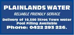 PLAINLANDS WATER RELIABLE FRIENDLY SERVICE Delivery of 10,500 litres Town water Pool Filling Avai...