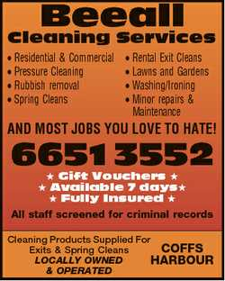 Beeall Cleaning Services * Residential & Commercial * Pressure Cleaning * Rubbish removal * S...
