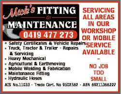 SERVICING ALL AREAS IN OUR WORKSHOP OR MOBILE * Safety Certificates & Vehicle Repairs SERVICE...