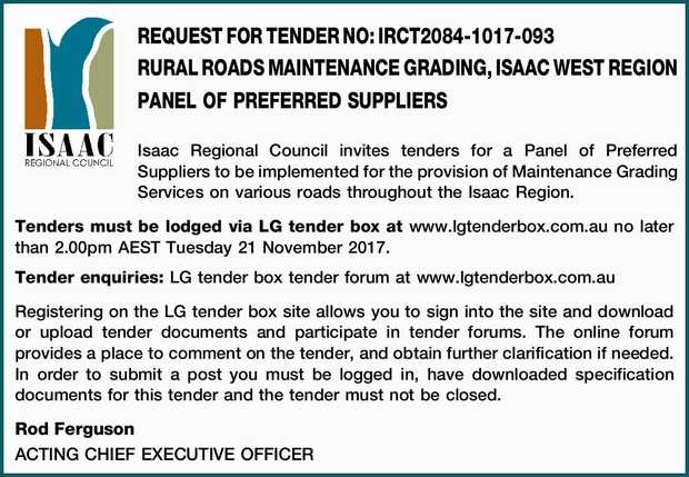 Isaac Regional Council invites tenders for a Panel of Preferred Suppliers to be implemented...