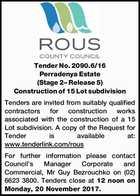 Tender No. 2090.6/16 Perradenya Estate (Stage 2– Release 5)