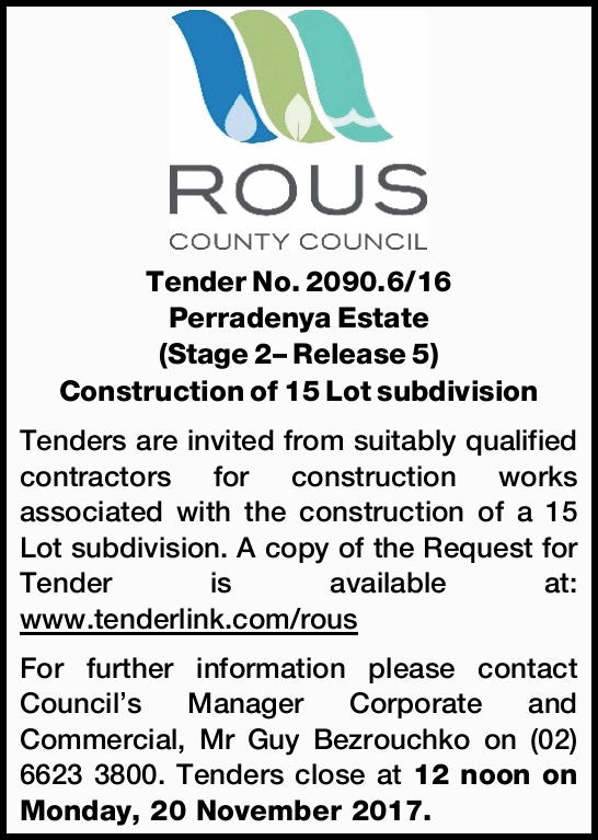 Construction of 15 Lot subdivision Tenders are invited from suitably qualified contractors...