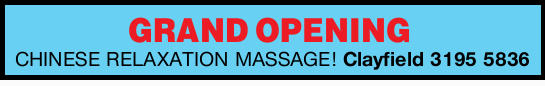 CHINESE RELAXATION MASSAGE! Clayfield