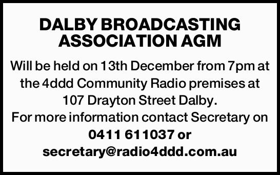 Will be held on 13th December from 7pm at the 4ddd Community Radio premises at 107 Drayton Street...