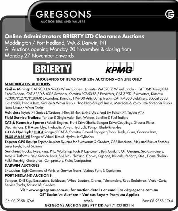 Online Administrators BRIERTY LTD Clearance Auctions Maddington / Port Hedland, WA & Darwin...
