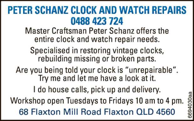 Master Craftsman Peter Schanz offers your entire clock and watch repairs needs